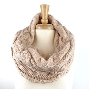 Cable Knit Sherpa Fleece Lined Infinity Scarf